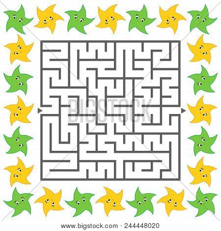 Abstract simple square isolated labyrinth. Black color on a white background. An interesting game for children. Simple flat vector illustration. With lovely bright stars. stock photo