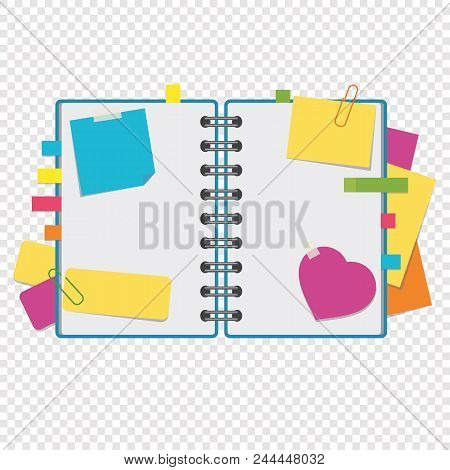 Color open notepad on rings with blank sheets and bookmarks between pages. A simple flat vector illustration isolated on a transparent background. stock photo