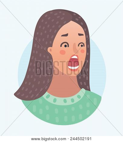 Vector cartoon illustration of Scared female facial expression of girl avatar. Young woman face, people emoticon icon, emoji on white background. stock photo