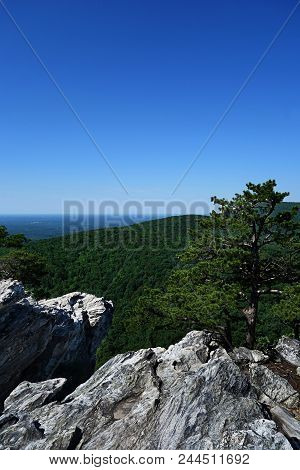 View from the top of Hanging Rock State Park, NC stock photo