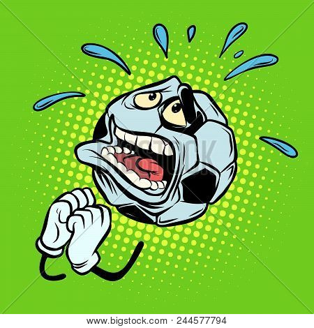 Fan praying. Football soccer ball. Funny character emoticon sticker. Sport world championship competition. Comic cartoon pop art retro vector illustration stock photo