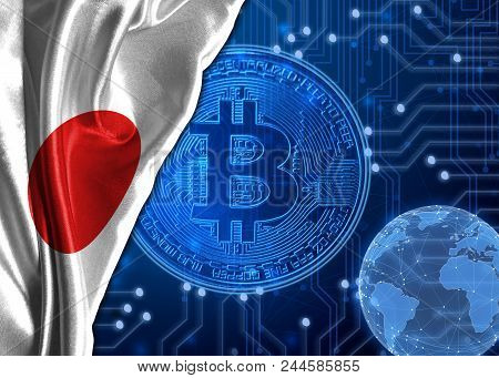 Flag of Japan is shown against the background of crypto currency bitcoin. Global world crypto currency-bitcoin. Shows the current exchange rate, fluctuations, the growth and fall graph in countries. stock photo