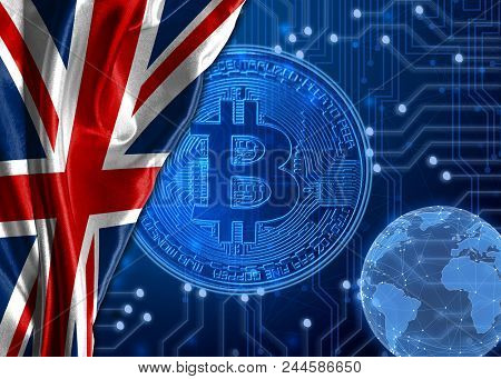Flag of United Kingdom is shown against the background of crypto currency bitcoin. Global world crypto currency-bitcoin. Shows the current exchange rate, fluctuations, the growth and fall graph in countries. stock photo