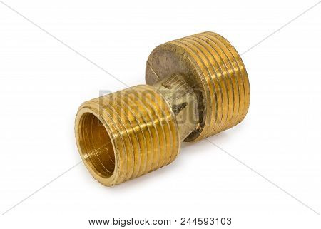 Brass eccentric connector for  the wall water mixer tap installation closeup on a white background stock photo