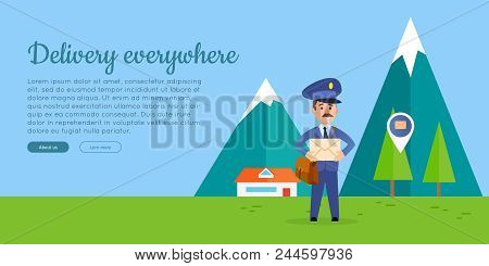 Delivery everywhere cartoon web banner. Postman in uniform with mailbag holding envelope on mountain landscape background flat vector illustration. Horizontal concept for post company landing page stock photo
