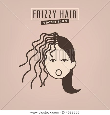 Frizzy hair icon. Hair problems collection. Vector illustration in flat style isolated on a beige background. Beauty, dermatology and health care concept in brown colors. stock photo