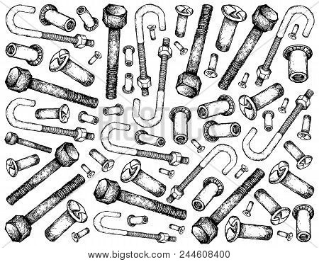 Manufacturing and Industry, Illustration Hand Drawn Sketch Wall-paper Background of Screws and Nuts. A Type of Fastener Used to Fasten Materials Together. stock photo