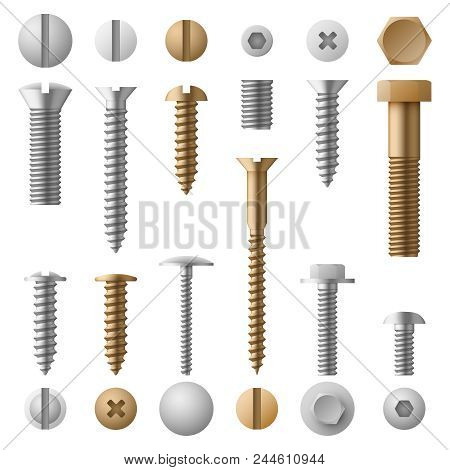 Stainless bolts screws, nuts, fasteners and rivets vector illustration isolated on white background. Rivet and screw bolt, steel element nut stock photo