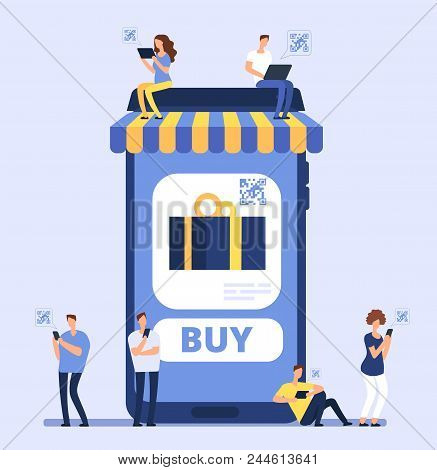People using smartphone for mobile shopping. Men women buy goods in internet store with cell phone and banking app. Vector concept online shop, e-commerce purchasing retail illustration stock photo