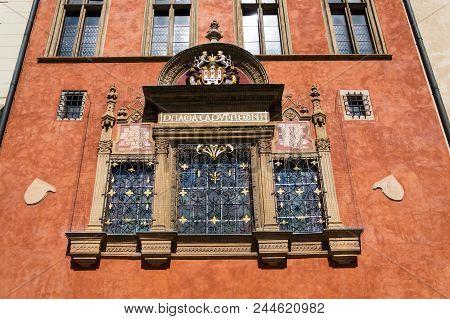 Prague Coat of Arms, Old Town Hall, Prague, Czech Republic stock photo