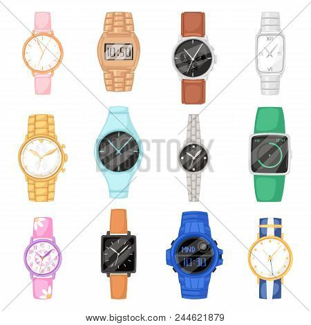 Watch vector wristwatch for businessman or fashion wrist clock with clockwork and clockface clocked in time with hour arrows illustration set of clocking alarm timer isolated on white background. stock photo