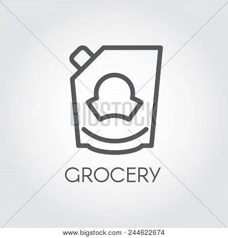 Mayonnaise, ketchup, doypack or mustard icon. Grocery concept line label. Food series. Vector illustration for product stores, retail, price list and other cooking thematic sites and mobile apps stock photo