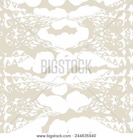 Triangle pattern. Beige geometry background. Tracery hister texture. Geometric graphic design. Hand drawn shibori print. Monochrome minimal triangle seamless pattern. Wrapping print. stock photo