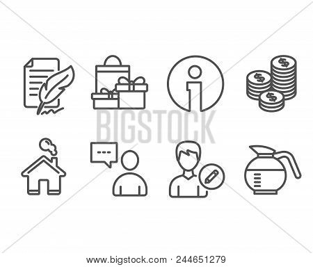 Set of Coins, Edit person and Shopping icons. Users chat, Feather signature and Coffeepot signs. Cash money, Change user info, Holiday packages. Communication concept, Feedback, Brewed coffee. Vector stock photo