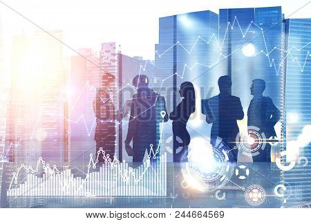 Diverse business team members discussing company development strategy in an office. Cityscape. HUD and immersive interface with infographics. Toned image double exposure mock up stock photo