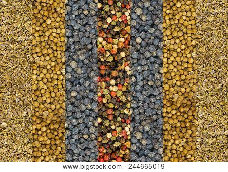 pimento and a mixture of hot peppers red white and green stripe vertical dill seeds dry and coriander base set spices background natural stock photo