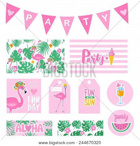 Vector summer party collection with tags, cards, garland, badges. Bright poster. Set elements for beach party with pink flamingo, ice cream, watermelon. Party decorations. stock photo