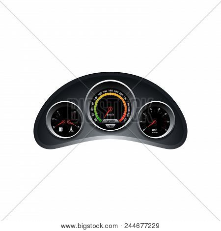 Design of speedometer, tachometer, fuel and heat panel. Dashboard template on white background. stock photo