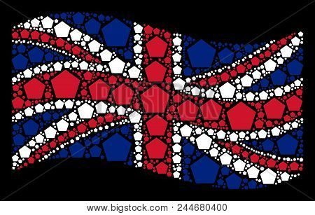Waving English flag on a black background. Vector filled pentagon elements are combined into conceptual UK flag collage. Patriotic composition combined of filled pentagon elements. stock photo