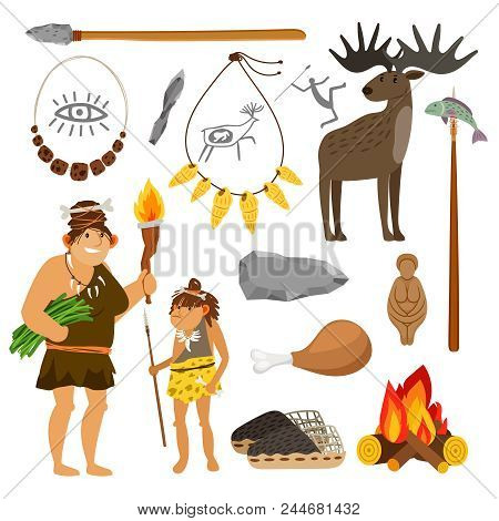 Stone age cartoon illustration. Prehistoric primitive tools and cave people isolated on white background, vector icons set stock photo