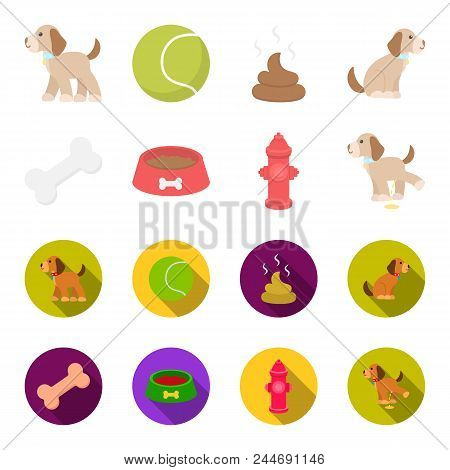 A bone, a fire hydrant, a bowl of food, a pissing dog.Dog set collection icons in cartoon, flat style vector symbol stock illustration . stock photo
