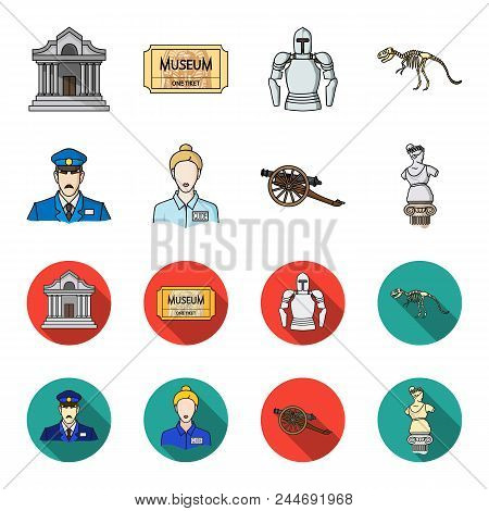 Guard, guide, statue, gun. Museum set collection icons in cartoon, flat style vector symbol stock illustration . stock photo