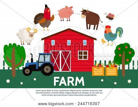 Flat farming template with barn trees sheep turkey pig bull hen butterfly tractor crates of fruits and vegetables isolated vector illustration stock photo