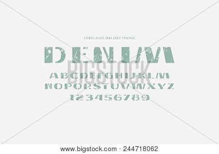 Stencil-plate sans serif font. Letters and numbers with rough texture for logo and label design stock photo