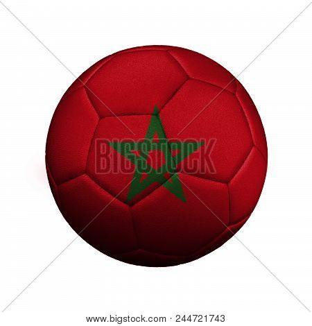 The flag of Morocco is depicted on a football, the ball is close up isolated on a white background. stock photo