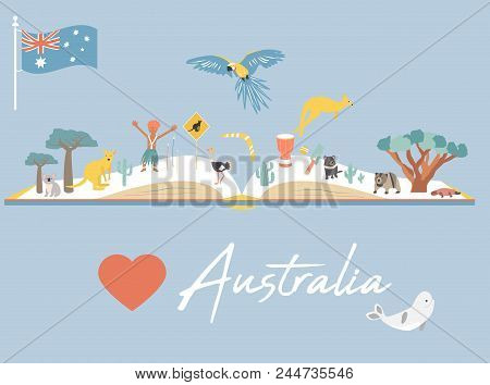 Australia Map Landmarks.Airstock Is Map Of Australia With Landmarks And Wildlife