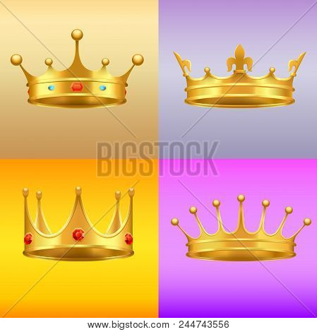 Golden crowns with gems 3d icons set. Shiny kings crowns with precious stones realistic vectors isolated on colorful gradient background stock photo