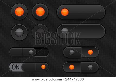 Black 3d buttons - sliders and radio buttons. Pushed and normal. Vector illustration stock photo