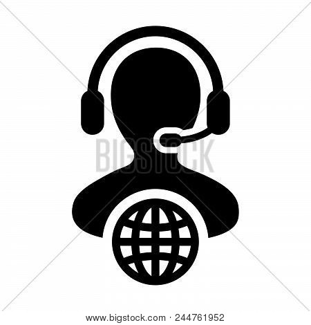 Call center icon vector male call center customer service person profile symbol with headset for internet network online support in glyph pictogram illustration stock photo