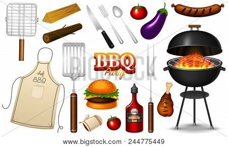 Barbecue grill elements set isolated on red background. BBQ party. Summer time. Meat restaurant at home. Charcoal kettle with tools, sauce and foods. Kitchen equipment for menu. Cooking outdoors stock photo