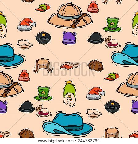 Different holiday carnaval hat fashion accessory party celebration for masquerad clothing vector illustration. Funny fabric cap costume hand drawn wear seamless pattern background. stock photo