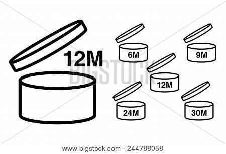 Period after opening PAO symbol. Useful lifetime of cosmetics after package is opened sign. Black drawing icon of pot with number of months representing best before date. stock photo