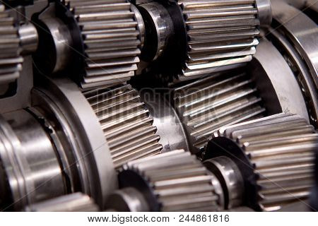 metal structure of the mechanism with shafts with a worm-gear stock photo