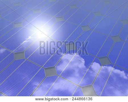 3D rendering. Solar panel with sun glare isolated on white background. Alternative energy. stock photo