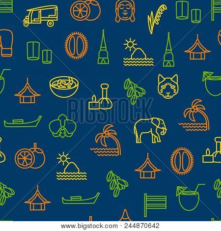 Thailand Travel and Tourism Seamless Pattern Background Include of Elephant, Boat, Boxing, Pagoda, Fruit and Taxi. Vector illustration stock photo