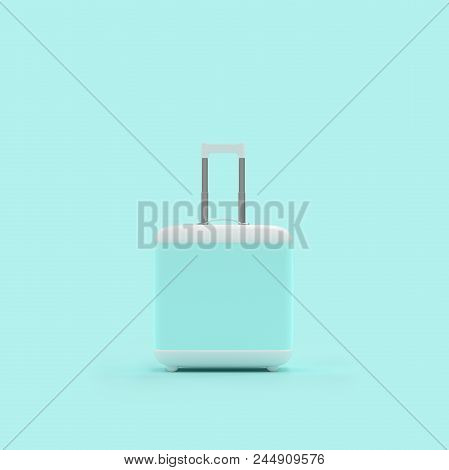 Travel suitcase pastel blue color isolated on blue background with clipping path and mockup for your text3d render. stock photo