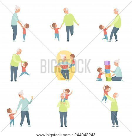 Grandpa and grandma playing, walking and having fun with their grandson set vector Illustrations isolated on a white background. stock photo