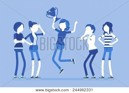 Female winner and envious friends. Girl jumping happy to win a prize, surpassed all rivals in contest or competition, other feel jealous about her achievement. Vector illustration, faceless characters stock photo