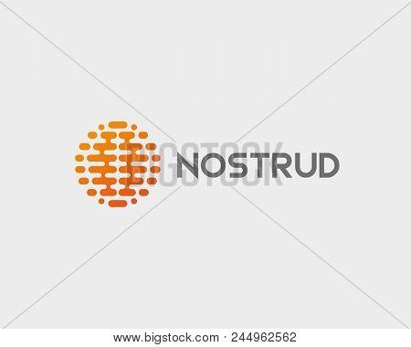 Abstract brain planet logotype. Color globe idea vector logo icon stock photo