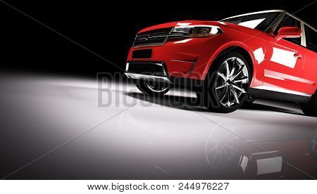 Modern red SUV car in a spotlight on a black background. Front view. 3D illustration. Luxury cars. stock photo