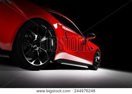 Modern red sports car in a spotlight on a black background. Front view. 3D render. Luxury cars. stock photo