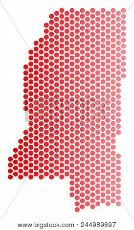 Red round spot Mississippi State map. Geographic plan in red color with horizontal gradient. Vector collage of Mississippi State map organized of round blot pattern. stock photo
