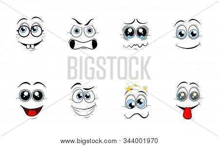 Cartoon eyes. Comic eye staring gaze watch, funny face parts facing smile cute, angry and joyful emotions. stock photo
