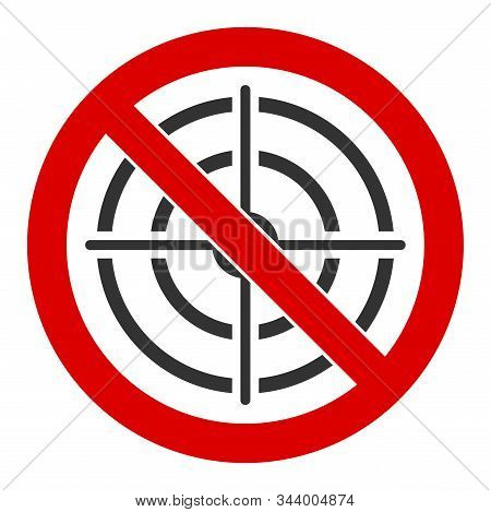 No aim vector icon. Flat No aim pictogram is isolated on a white background. stock photo
