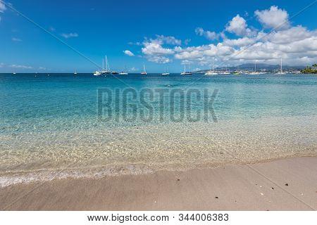 View of Anse Mitan Beach in Les Trois Ilets - Martinique FWI stock photo