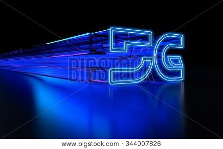 High speed internet 5G technology with blue abstract futuristic background. 3D Rendering stock photo